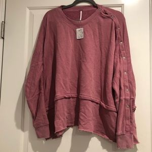 Pink free people crew neck , one shoulder buttons